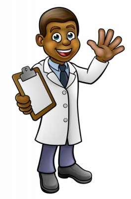 A cartoon scientist professor wearing lab white coat waving and holding a clipboard