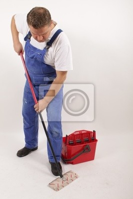 A contract cleaners mopping the floor