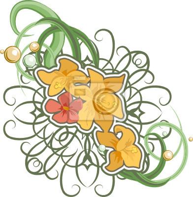 A floral design element.
