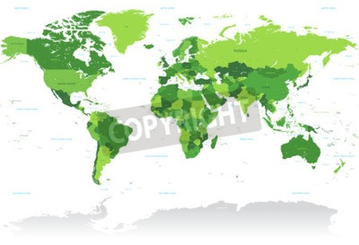 Wall mural A High Detail vector Map of the world in shades of green. All countries are named with the respective english name.