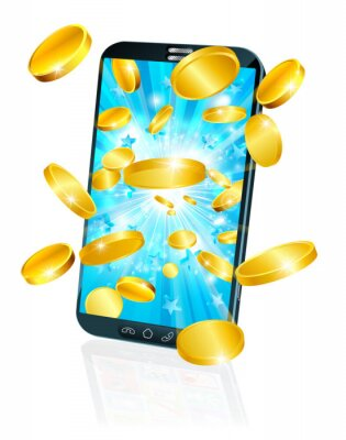 A mobile or cell phone with gold coin money flying out concept.