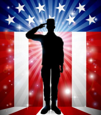 A patriotic American soldier standing and saluting in front of a flag background