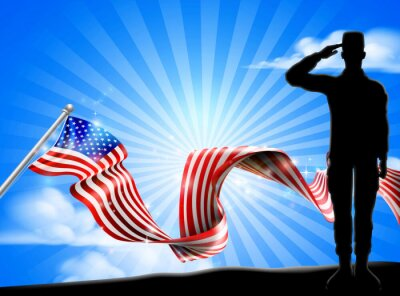 A patriotic soldier saluting while standing in front of an American flag ribbon background