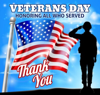 A patriotic soldier saluting with an American flag Veterans Day Honoring All who Served, Thank You background design