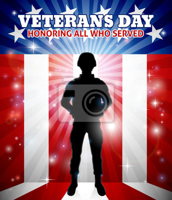A patriotic soldier standing in front of an American flag Veterans Day background concept