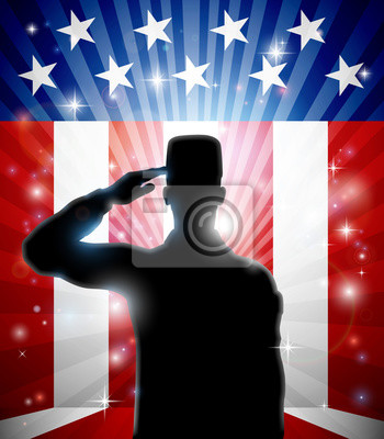 A patriotic soldier standing saluting in front of an American flag background