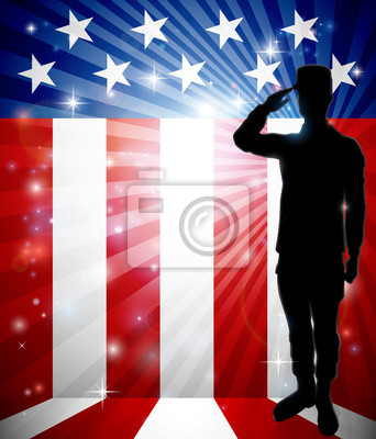 A patriotic soldier standing saluting in front of an American flag background with copy space