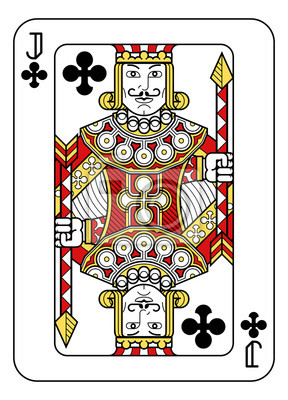 A playing card Jack of Clubs in red, yellow and black from a new modern original complete full deck design. Standard poker size