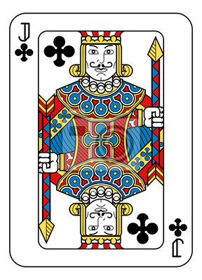A playing card Jack of Clubs in yellow, red, blue and black from a new modern original complete full deck design. Standard poker size.