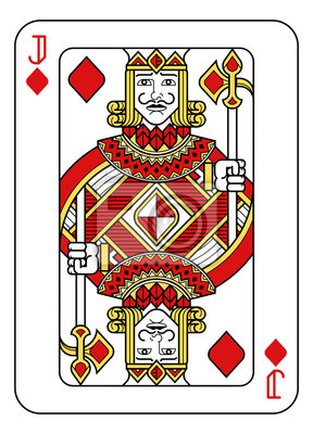 A playing card Jack of Diamonds in red, yellow and black from a new modern original complete full deck design. Standard poker size