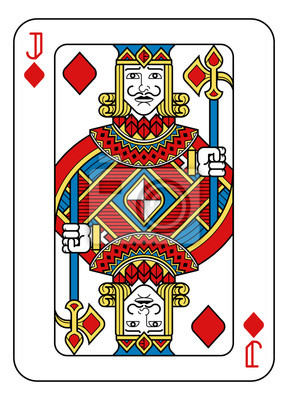 A playing card Jack of Diamonds in yellow, red, blue and black from a new modern original complete full deck design. Standard poker size.