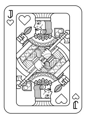 A playing card Jack of hearts in black and white from a new modern original complete full deck design. Standard poker size.