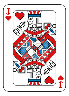 A playing card Jack of hearts in red, blue and black from a new modern original complete full deck design. Standard poker size.