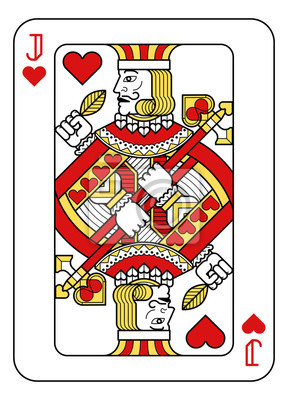 A playing card Jack of hearts in red, yellow and black from a new modern original complete full deck design. Standard poker size