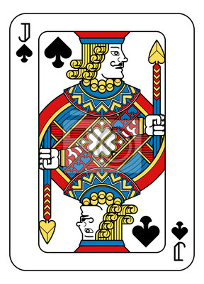 A playing card Jack of Spades in yellow, red, blue and black from a new modern original complete full deck design. Standard poker size.