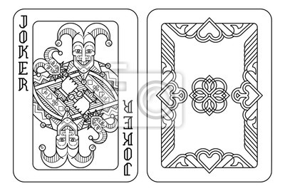 A playing card Joker and reverse or back of cards in black and white from a new modern original complete full deck design. Standard poker size.