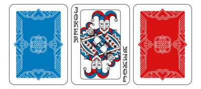 A playing card Joker and reverse or back of cards in red, blue and black from a new modern original complete full deck design. Standard poker size.
