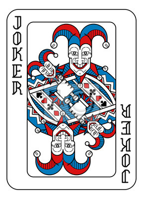 A playing card Joker in red, blue and black from a new modern original complete full deck design. Standard poker size.