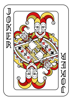 A playing card Joker in red, yellow and black from a new modern original complete full deck design. Standard poker size