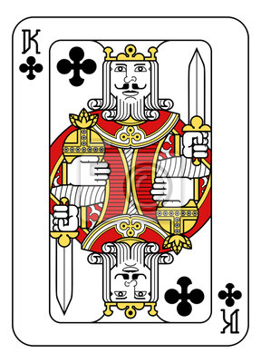 A playing card king of Clubs in red, yellow and black from a new modern original complete full deck design. Standard poker size.