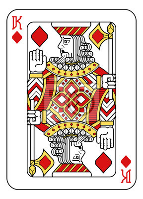 A playing card king of Diamonds in red, yellow and black from a new modern original complete full deck design. Standard poker size