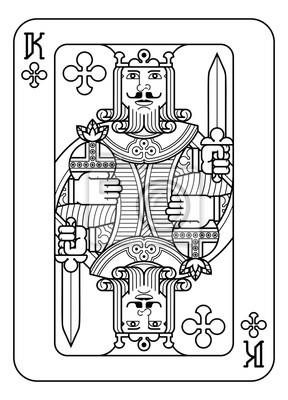 A playing card king of Spades in black and white from a new modern original complete full deck design. Standard poker size.