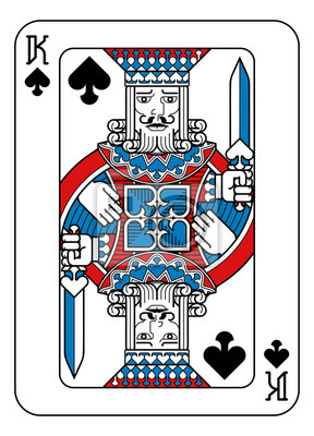 A playing card king of Spades in red, blue and black from a new modern original complete full deck design. Standard poker size.