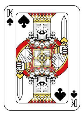 A playing card king of Spades in red, yellow and black from a new modern original complete full deck design. Standard poker size