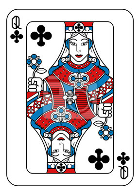 A playing card Queen of Clubs in red, blue and black from a new modern original complete full deck design. Standard poker size.