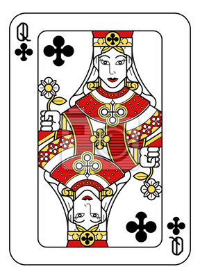 A playing card Queen of Clubs in red, yellow and black from a new modern original complete full deck design. Standard poker size