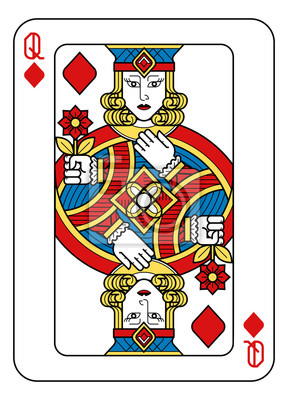 A playing card Queen of Diamonds in yellow, red, blue and black from a new modern original complete full deck design. Standard poker size.