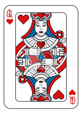 A playing card Queen of hearts in red, blue and black from a new modern original complete full deck design. Standard poker size.