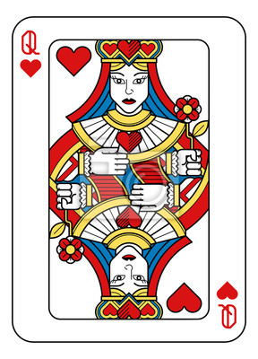 A playing card Queen of hearts in yellow, red, blue and black from a new modern original complete full deck design. Standard poker size.