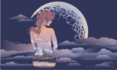 Wall mural A romantic girl sits on the background of the moon. Body art girl, body painted with scenery. Romantic girl on the background of the moon and stellar sky tattoo and t-shirt design. woman sitting in th