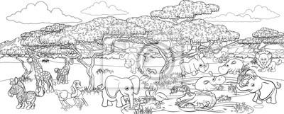 A safari cartoon cute animal background African savannah landscape coloring outline scene.