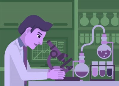 A scientist working in a scientific laboratory with microscope and other science lab equipment
