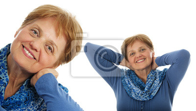 a senior woman - over sixty years old on white background