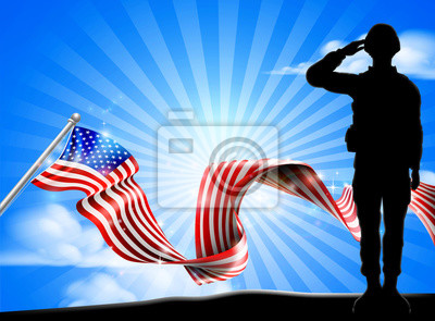 A soldier saluting with an American flag ribbon background