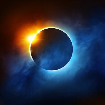 Wall mural A Total Eclipse of the Sun. Dramatic Solar Eclipse illustration.