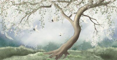 Wall mural A tree in the fog with a crane flying. For interior printing.