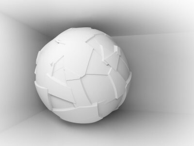 Wall mural Abstract 3d background with white big flying sphere