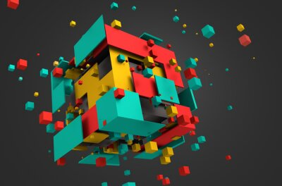 Wall mural Abstract 3D Rendering of Flying Cubes.