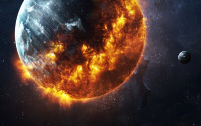 Wall mural Abstract apocalyptic background - burning and exploding planet . This image elements furnished by NASA