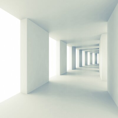 Wall mural Abstract architecture 3d background, empty white corridor