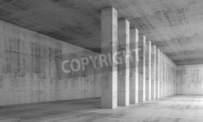 Wall mural Abstract architecture background, empty interior with concrete walls and columns in a row, 3d illustration with perspective effect