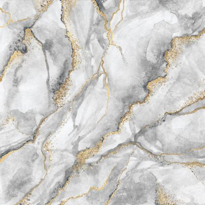 Wall mural abstract background, creative texture of white marble with gold veins, artistic paint marbling, artificial fashionable stone, marbled surface