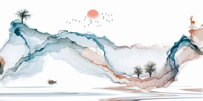 Wall mural Abstract background ink line decoration painting landscape artistic conception