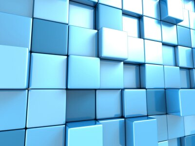 Wall mural Abstract blue cubes background wallpaper
