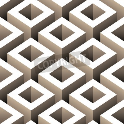 Wall mural abstract boxes 3d seamless pattern
