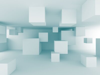 Wall mural Abstract Chaotic Cubes Construction Design Background